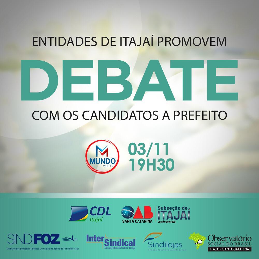 Entidades de Itajaí promovem debate com os candidatos a prefeito