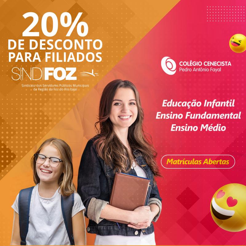 Filiados do Sindifoz tem 20% de desconto no CNEC Colégio Fayal, em Itajaí