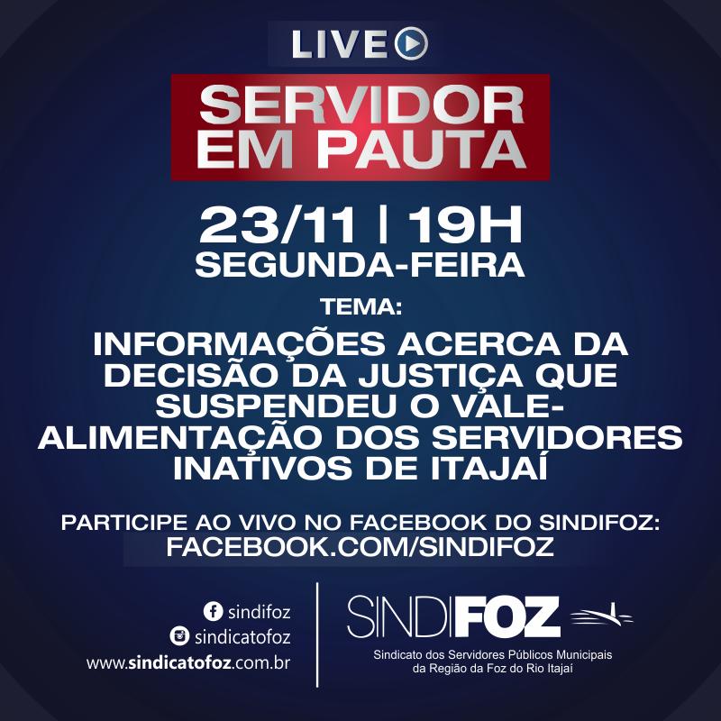Hoje: Live para servidores aposentados e pensionistas de Itajaí às 19h