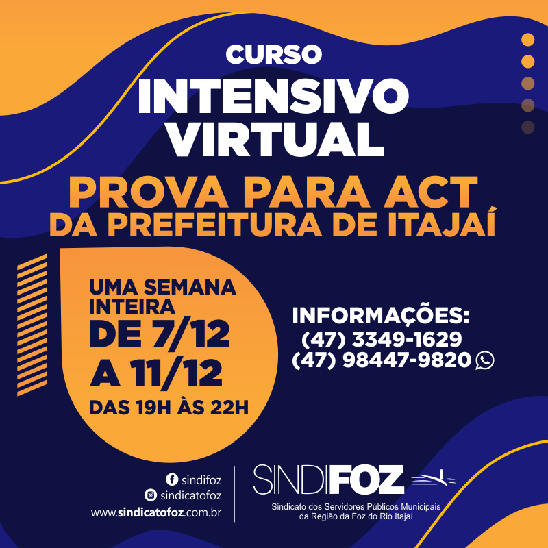 Começa hoje: curso intensivo virtual para a prova para ACT da Prefeitura de Itajaí