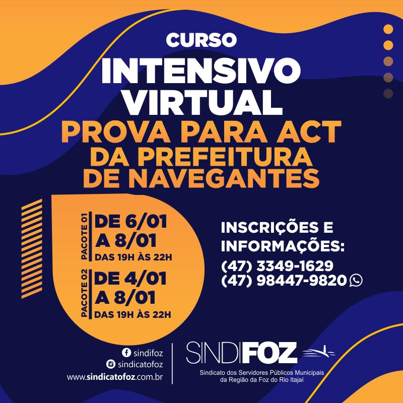 Curso intensivo virtual: prova para ACT da Prefeitura de Navegantes