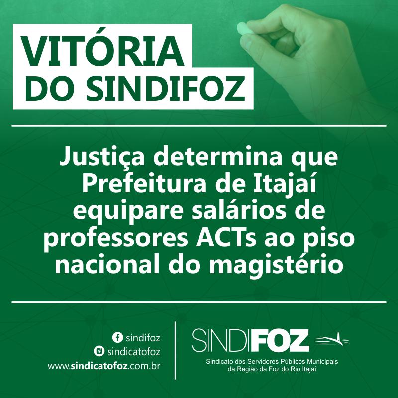 Justiça determina que prefeitura de Itajaí equipare salários de professores ACTs ao piso nacional do magistério
