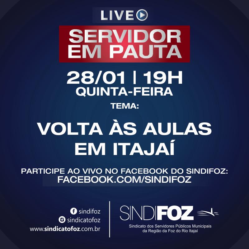 """Servidor em Pauta: Live com o tema """"Volta às aulas em Itajaí"""" é hoje"""