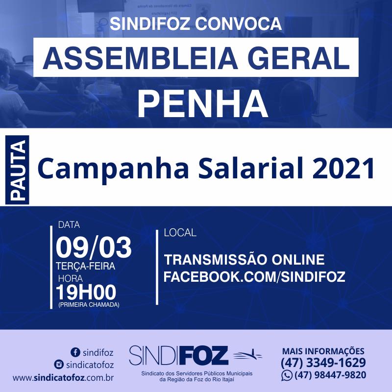 É HOJE: Assembleia Geral com servidores de Penha