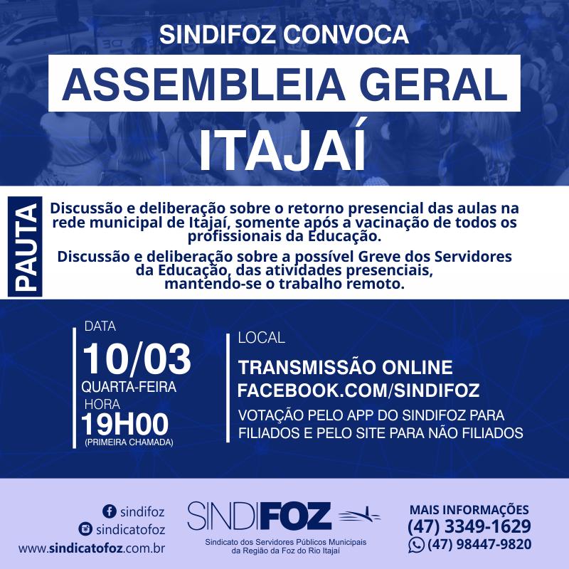 É HOJE: Assembleia Geral com servidores da Educação de Itajaí