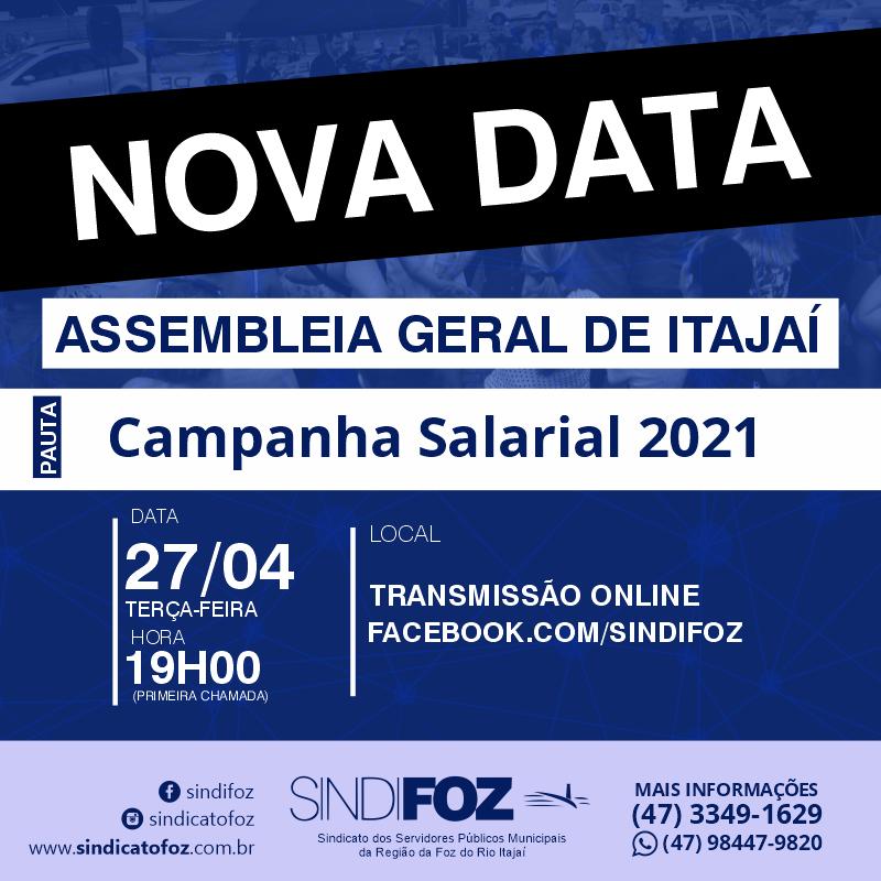 Nova data – Assembleia Geral de Itajaí