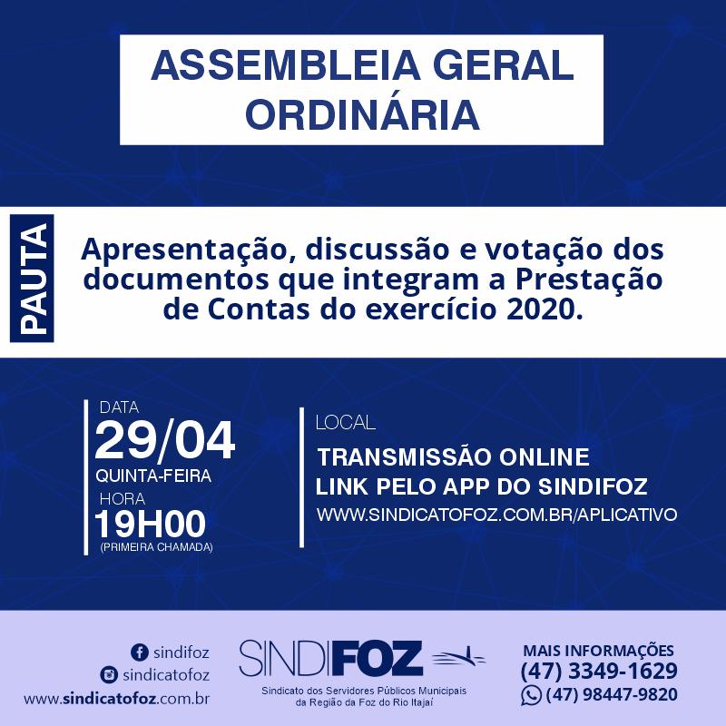 Assembleia Geral de Prestação das Contas 2020 do Sindifoz
