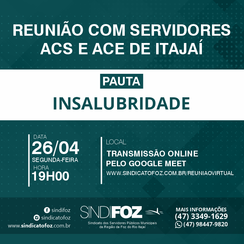 Reunião virtual com servidores ACS e ACE de Itajaí na segunda-feira
