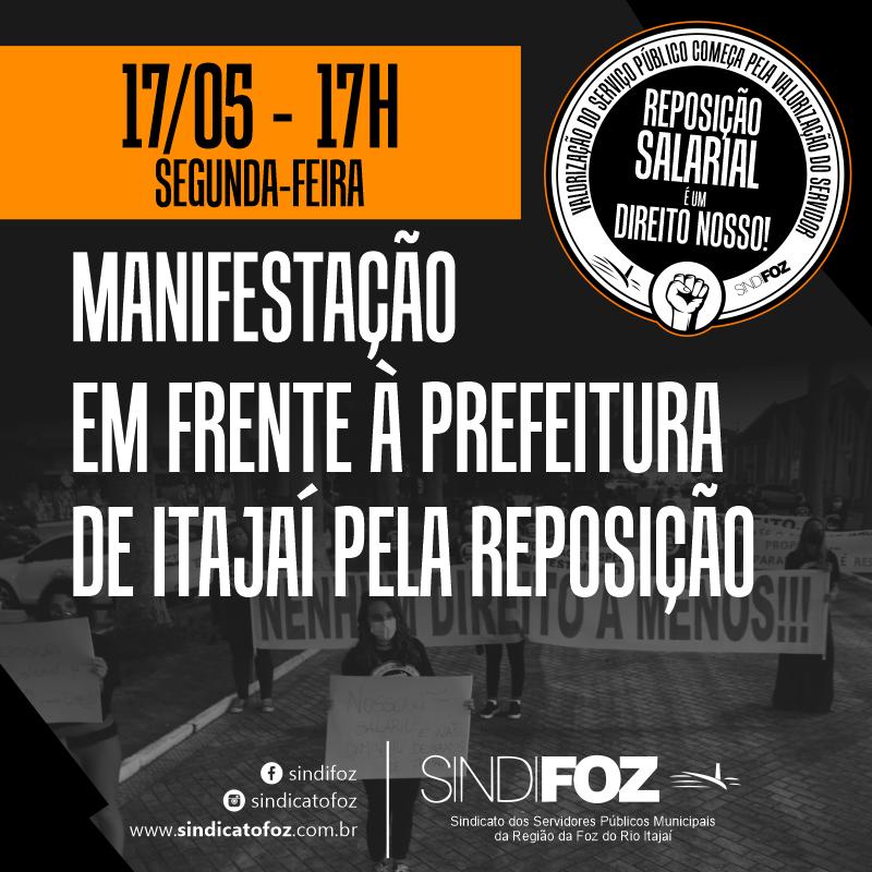 Ato dos servidores públicos de Itajaí pela reposição salarial acontece nesta segunda-feira