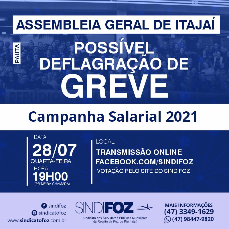 AO VIVO – Assembleia Geral com os servidores públicos municipais de Itajaí