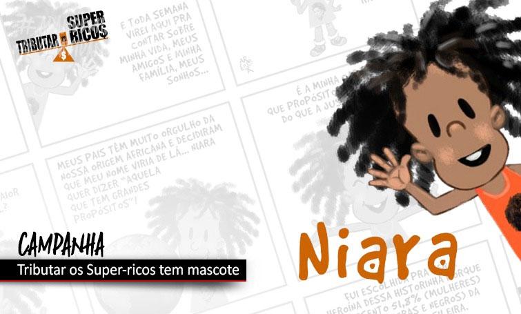 Niara é a mascote da campanha Tributar os Super-ricos