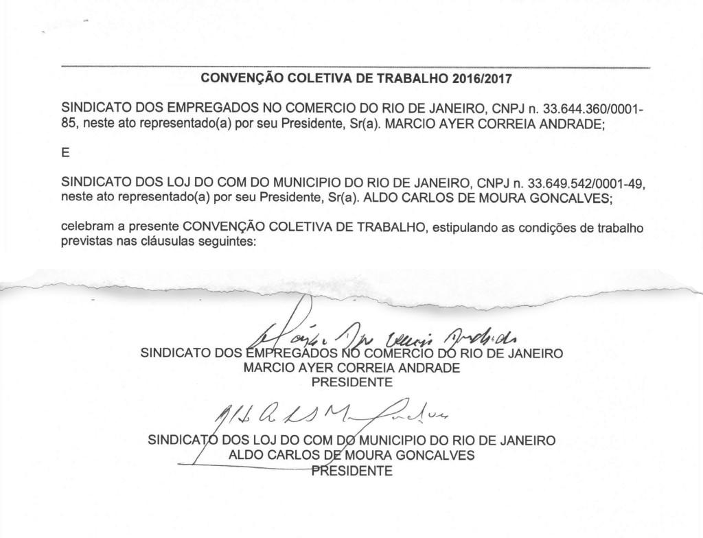 Fac-símile da CCT assinada com o Sindilojas