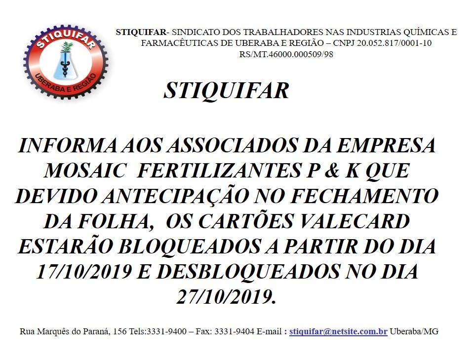 COMUNICADO IMPORTANTE AOS TRABALHADORES DA MOSAIC