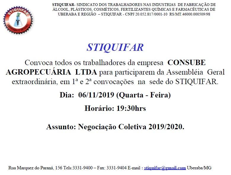 COMUNICADO IMPORTANTE – CONSUBE AGROPECUÁRIA E UBY AGROQUÍMICA