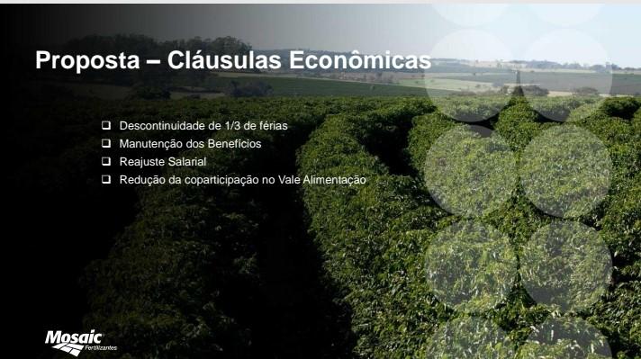 A diretoria do Stiquifar recusa proposta de reajuste salarial apresentada pela Mosaic Fertilizantes