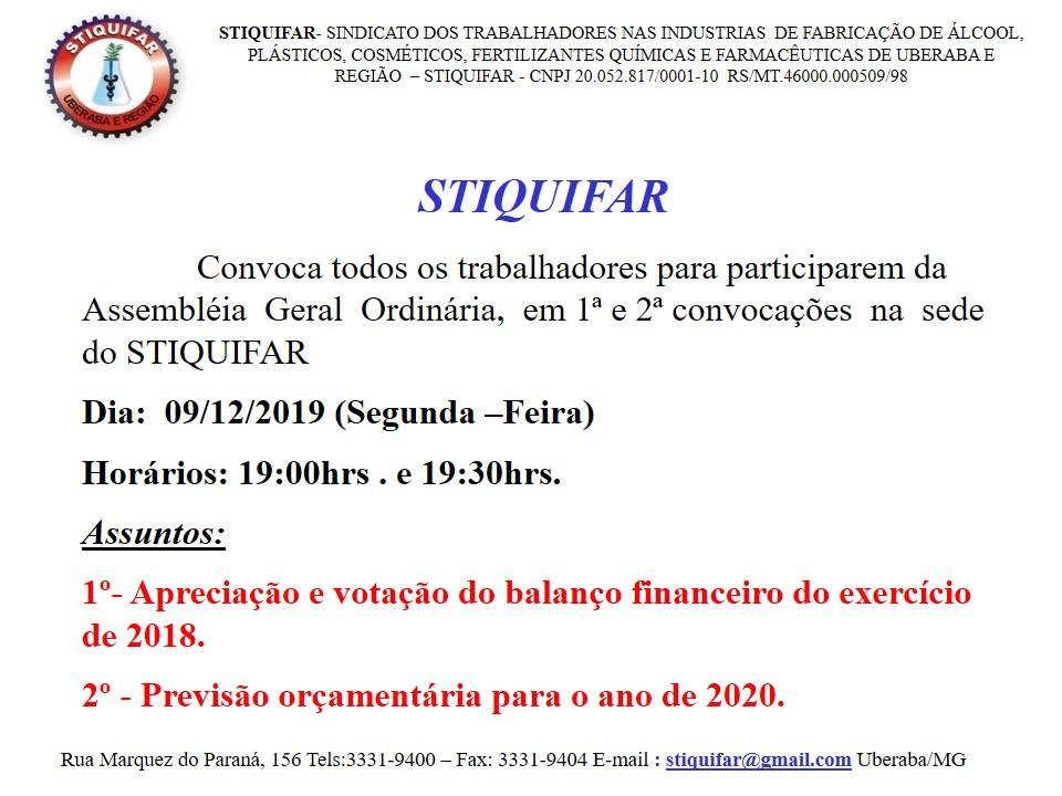 ATENÇÃO TRABALHADORES ASSOCIADOS DO STIQUIFAR