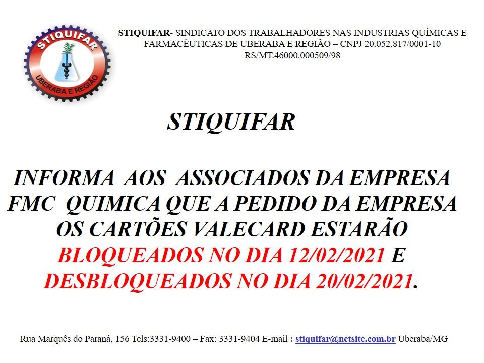 Stiquifar alerta que cartões da Valecard da FMC serão bloqueados por um período
