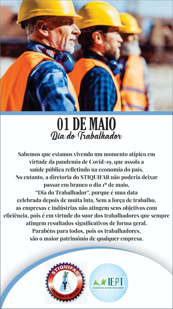 """STIQUIFAR parabeniza categoria pelo """"Dia do Trabalhador"""" e convoca para lutarem pelos seus direitos"""