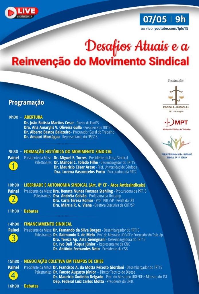 Miguel Torres fala sobre Formação do Movimento Sindical em live nesta sexta, 7 de maio, 9h
