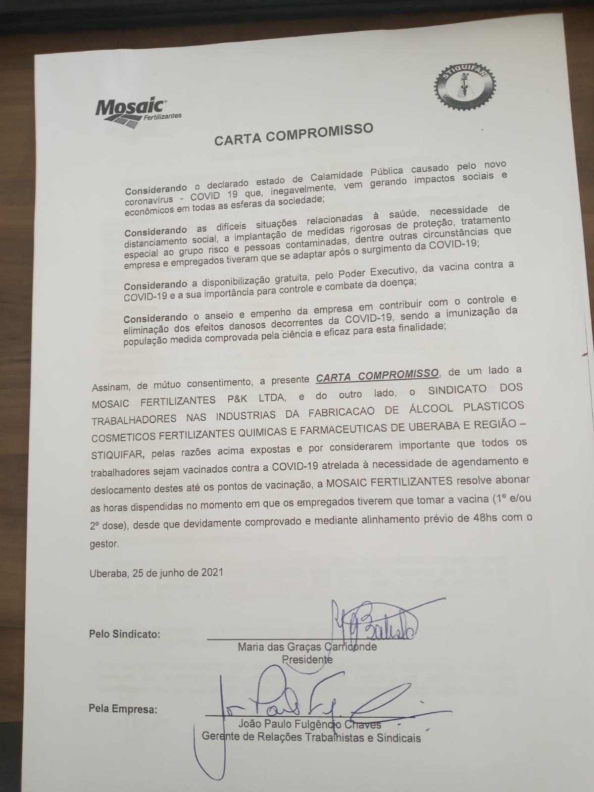 Stiquifar e Mosaic Fertilizantes firma compromisso de trabalhadores serem imunizados contra Covid-19