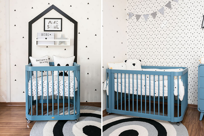 Linha Evolutiva para quarto de menino moderno - papel de parede