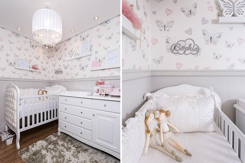 quarto clássico para menina borboletas - móveis
