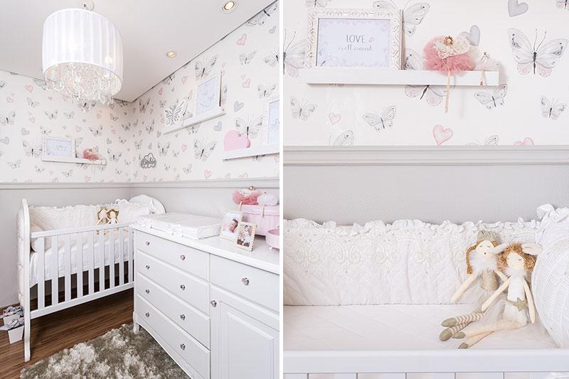 quarto clássico para menina borboletas - papel de parede