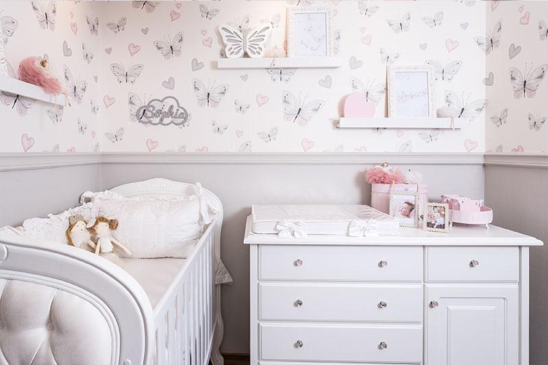 quarto clássico para menina borboletas - frente