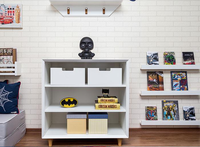 quarto super heróis - estante