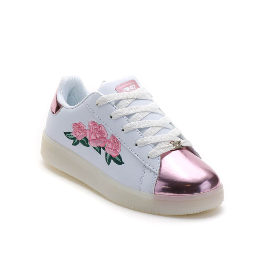Zapatillas Con Luces Rosa Bordada Met 47 Street